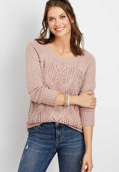 long sleeve cable knit pullover
