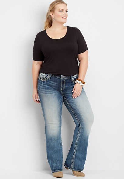 Plus Size Vigoss® Embellished Faux Flap Pocket Bootcut Jean