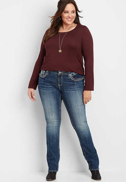 plus size Vigoss® pink stitch pocket straight leg jean