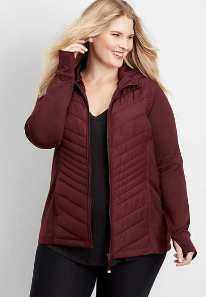 plus size long sleeve active puffer jacket