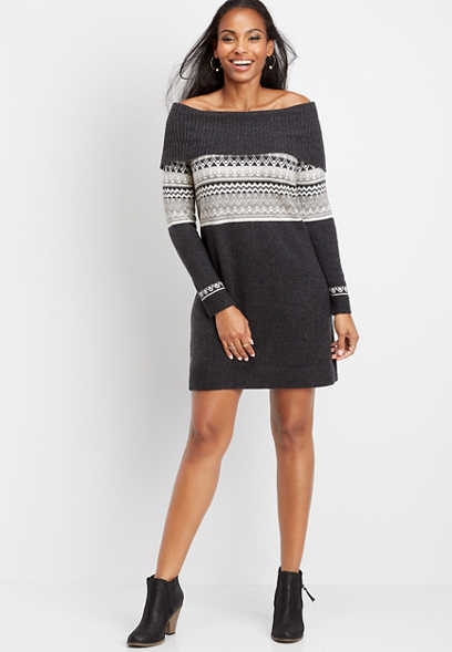 fair isle marilyn neck sweater dress