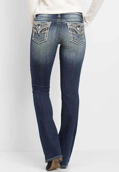 Vigoss® faux flap pocket slim boot jean
