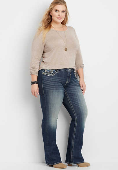 plus size Vigoss® faux flap pocket slim boot jean