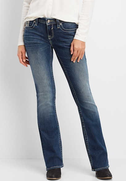 Vigoss® sequin border pocket bootcut jean