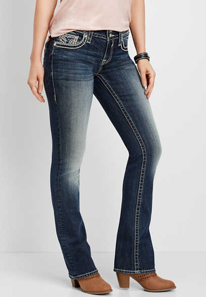 Vigoss® sequin flap pocket slim boot jean