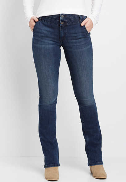 DenimFlex™ high rise dark stacked waist slim boot jean