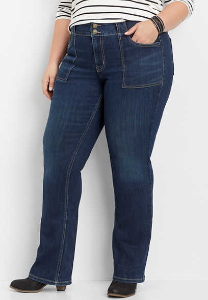 plus size DenimFlex™ utility pocket dark slim boot jean
