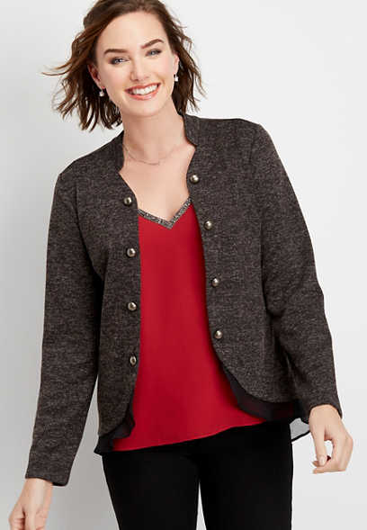 ruffle trim open front military cardigan