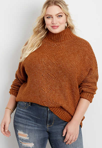 plus size oversized cable knit mock neck pullover