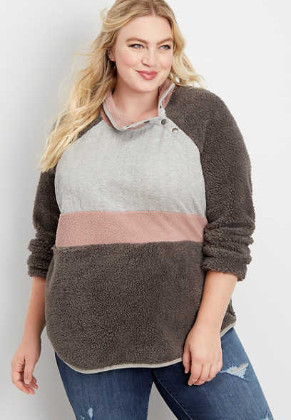 plus size cable yoke sherpa pullover