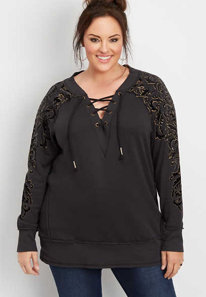 plus size lace up studded graphic pullover