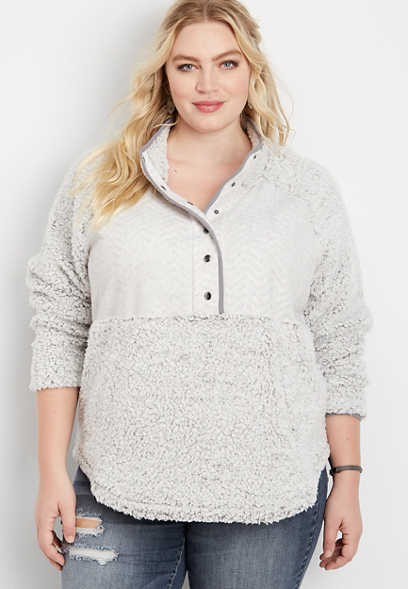plus size chevron yoke sherpa pullover