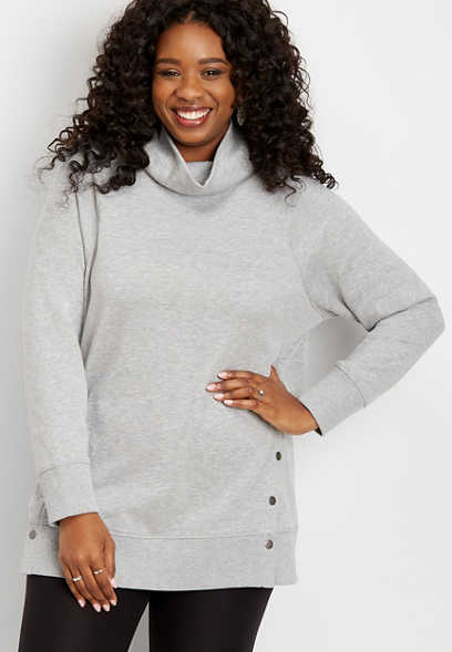 plus size solid snap side tunic pullover