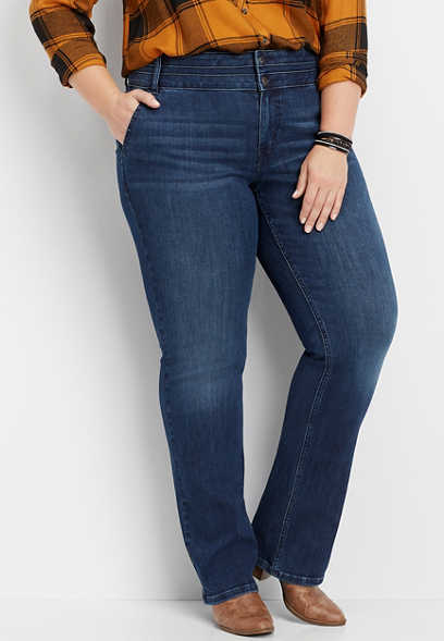 plus size DenimFlex™ high rise stacked waist slim boot jean