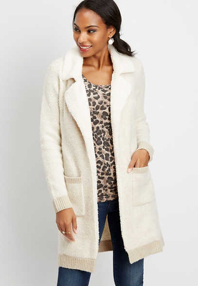 sherpa open front sweater duster cardigan
