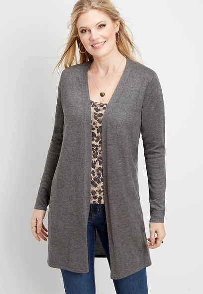 pointelle open front duster cardigan