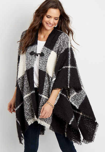 plaid blanket ruana