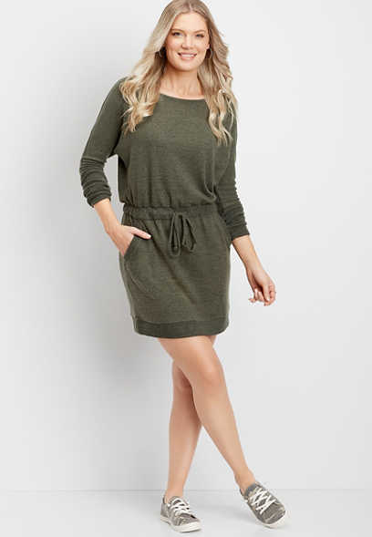 rib trim drawstring waist sweater dress