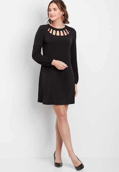 Solid Lattice Neck Shift Dress