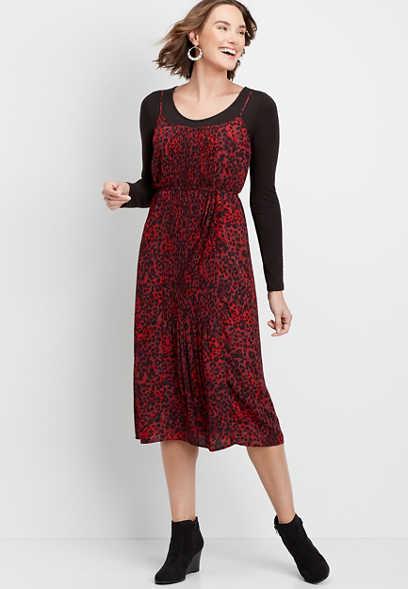 pleated leopard slip dress