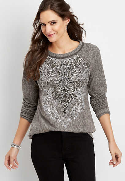 studded crew neck graphic pullover