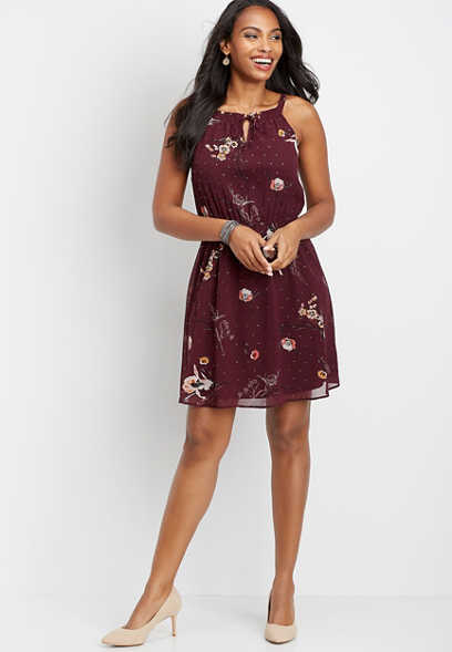 floral keyhole neck dress
