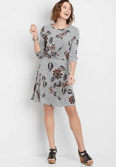 floral front pleat dress