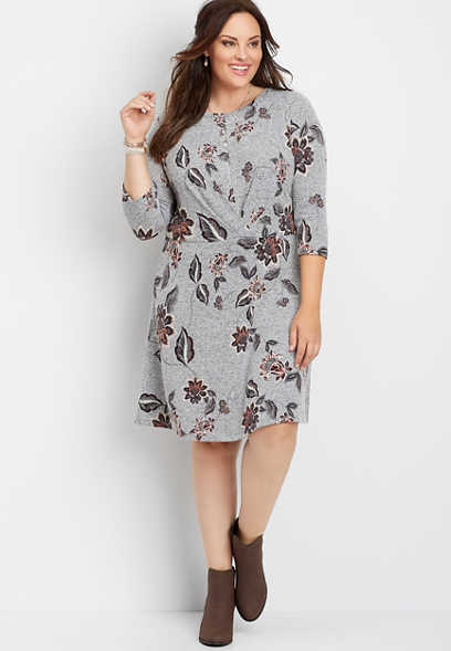 plus size floral front pleat dress