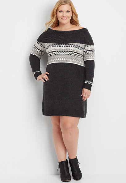 plus size fair isle marilyn neck sweater dress