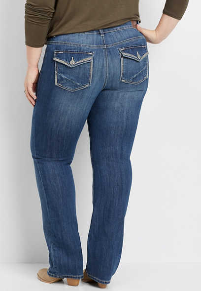 plus size DenimFlex™ embellished flap pocket slim boot jean