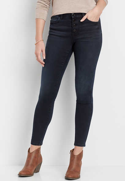 DenimFlex™ high rise indigo button fly jegging
