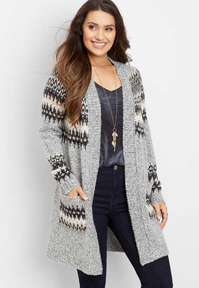 fair isle open front duster cardigan