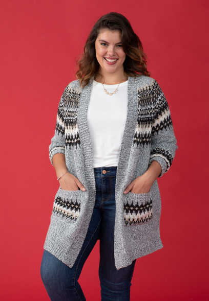 plus size fair isle open front duster cardigan