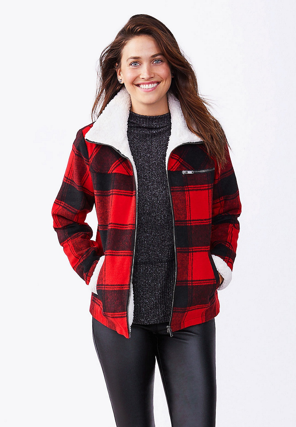 maurices Womens Plaid Sherpa Trim Jacket
