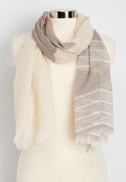 shimmer stripe oblong scarf
