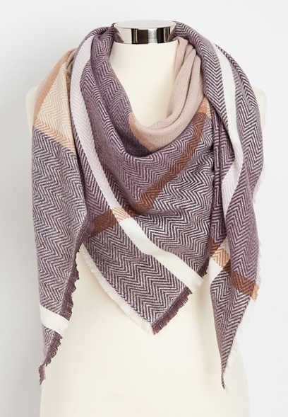 herringbone plaid triangle scarf