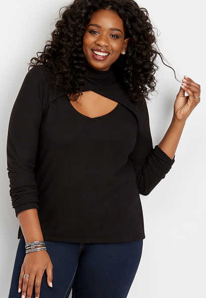 plus size 24/7 cut out mock neck tee