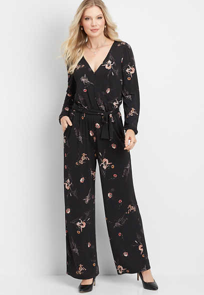 floral tie waist pocket jumpsuit