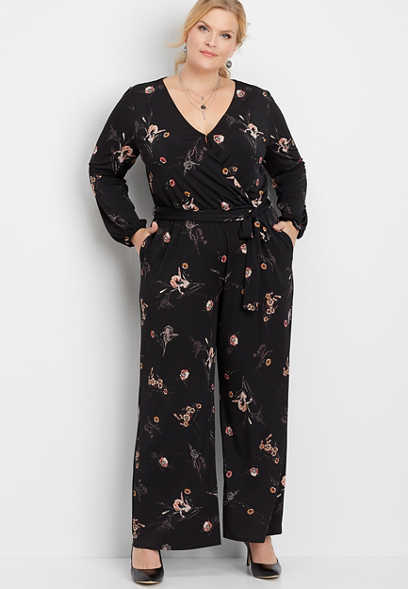 plus size floral tie waist pocket jumpsuit