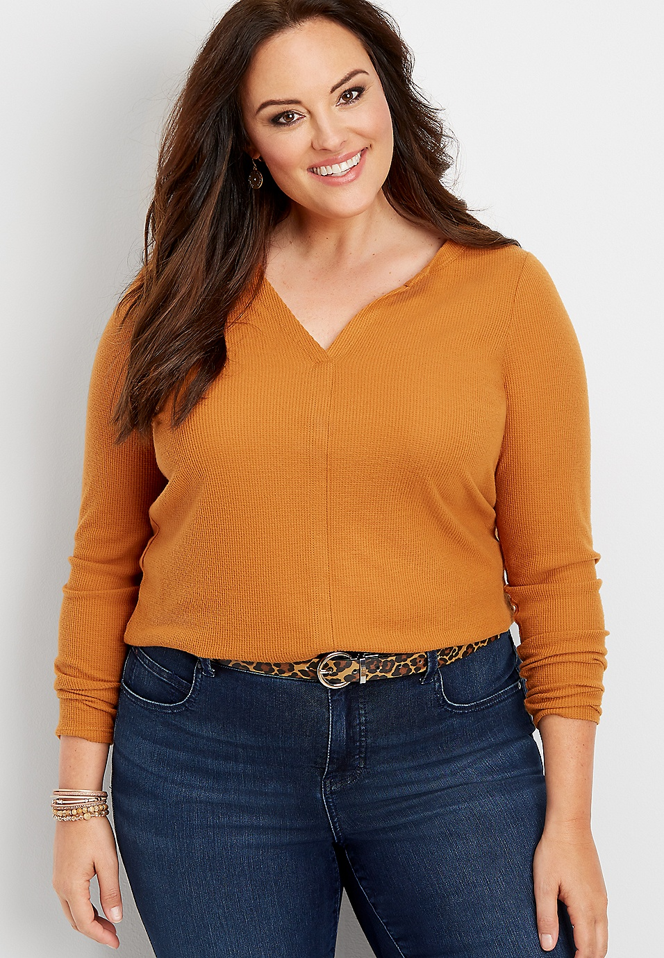 plus size 24/7 solid split neck waffle knit tee