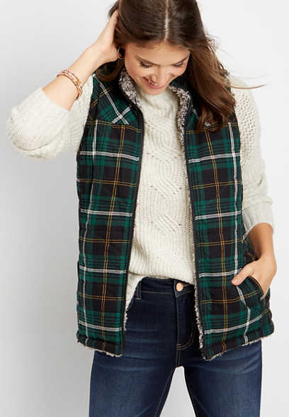 reversible plaid sherpa vest
