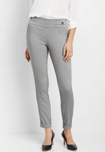 pull on bengaline buckle skinny ankle pant