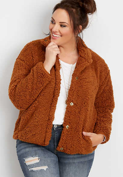 plus size teddy sherpa jacket