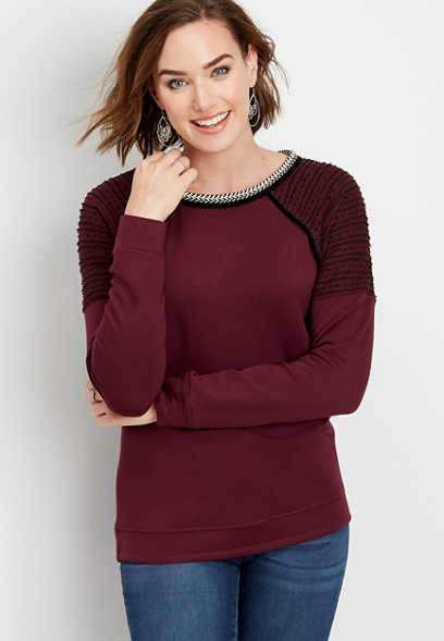 textured shoulder pullover