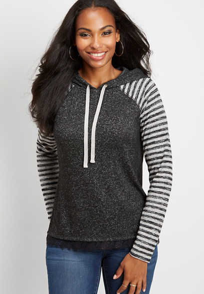 brushed stripe mix hoodie