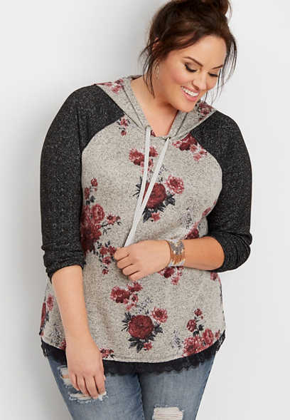 plus size brushed floral hoodie