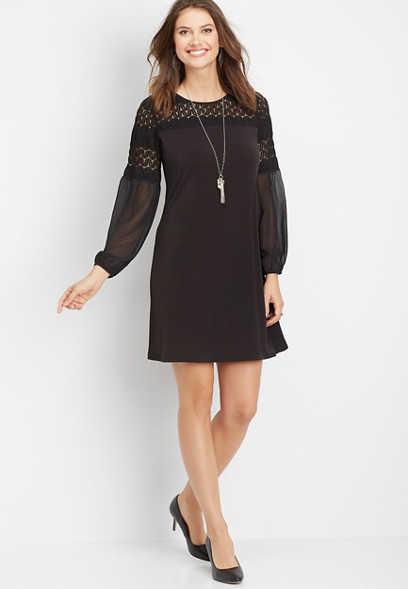 crochet balloon sleeve shift dress