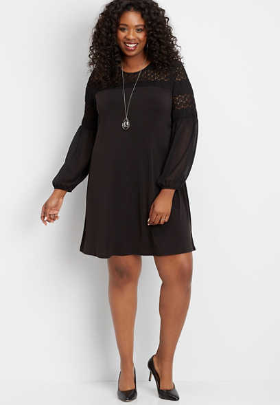 plus size crochet balloon sleeve shift dress