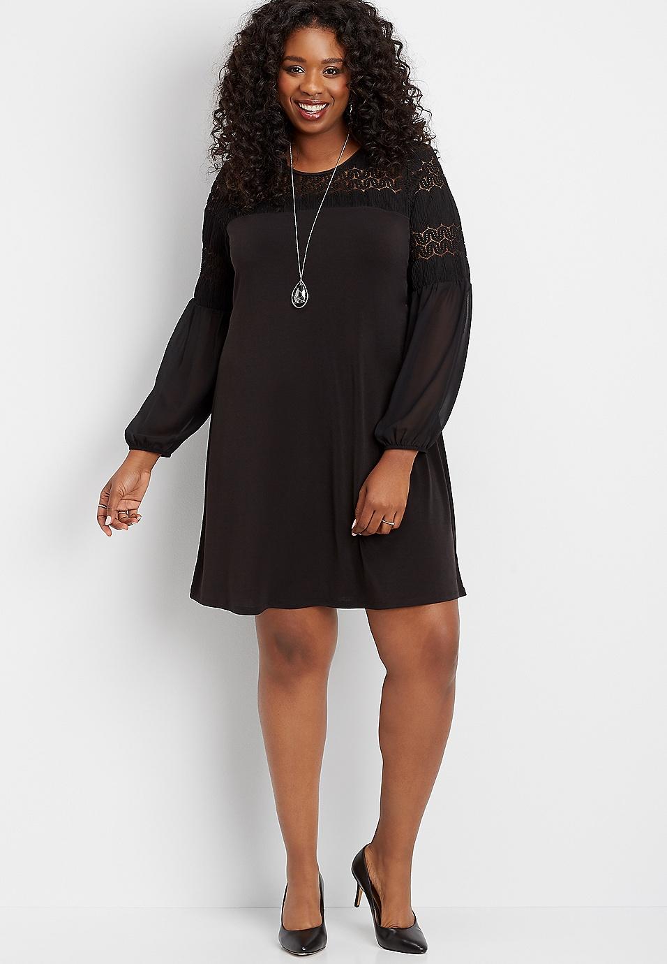 plus size crochet balloon sleeve shift dress