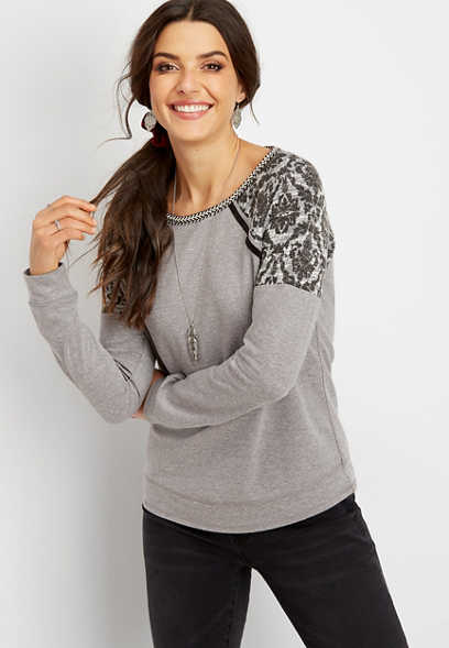 printed textured shoulder pullover